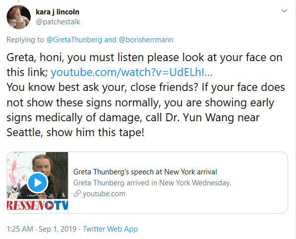 Greta, honi, you must listen please look at your face on this link; You know best ask your, close friends? If your face does not show these signs normally, you are showing early signs medically of damage, call Dr. Yun Wang near Seattle, show him this tape!