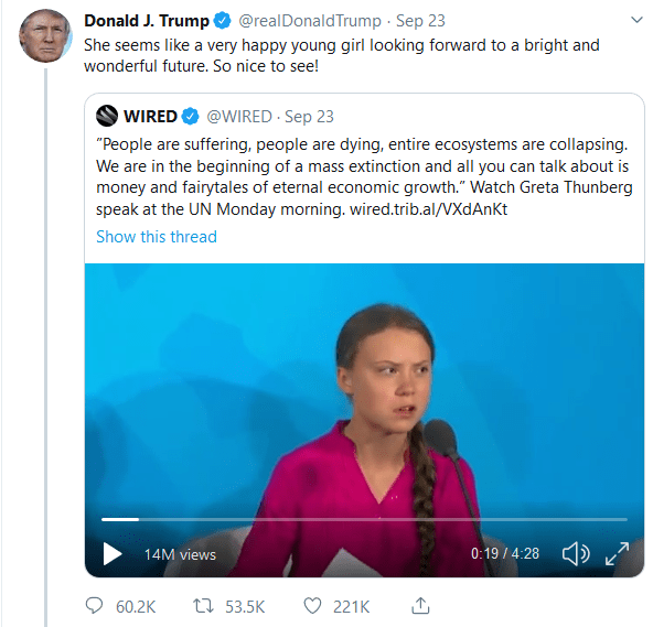 donald trump tweets She seems like a very happy young girl looking forward to a bright and wonderful future. So nice to see!
