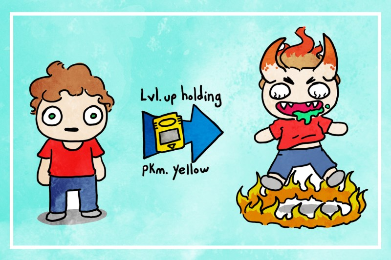 Cartoon of author, arrow with gameboy that says Level up holding, pokemon yellow pointing to picture of author with horns, no eyes, sharp teeth hovering above a ring of fire.