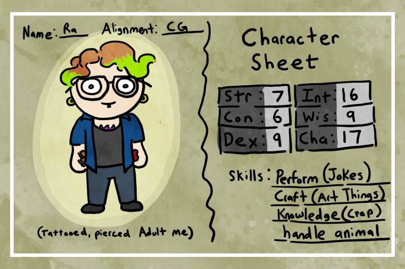 """Drawing of a Dungeons and Dragons character sheet. Name: Ra Alignment: CG Drawing of """"tattooed, pierced Adult me."""" Character Sheet: Strength 7, Constitution 6, Dexterity 9, Intelligence 16, Wisdom 9, Charisma 17. Skills: Perform (jokes), Craft (art things), Knowledge (crap), handle animal"""
