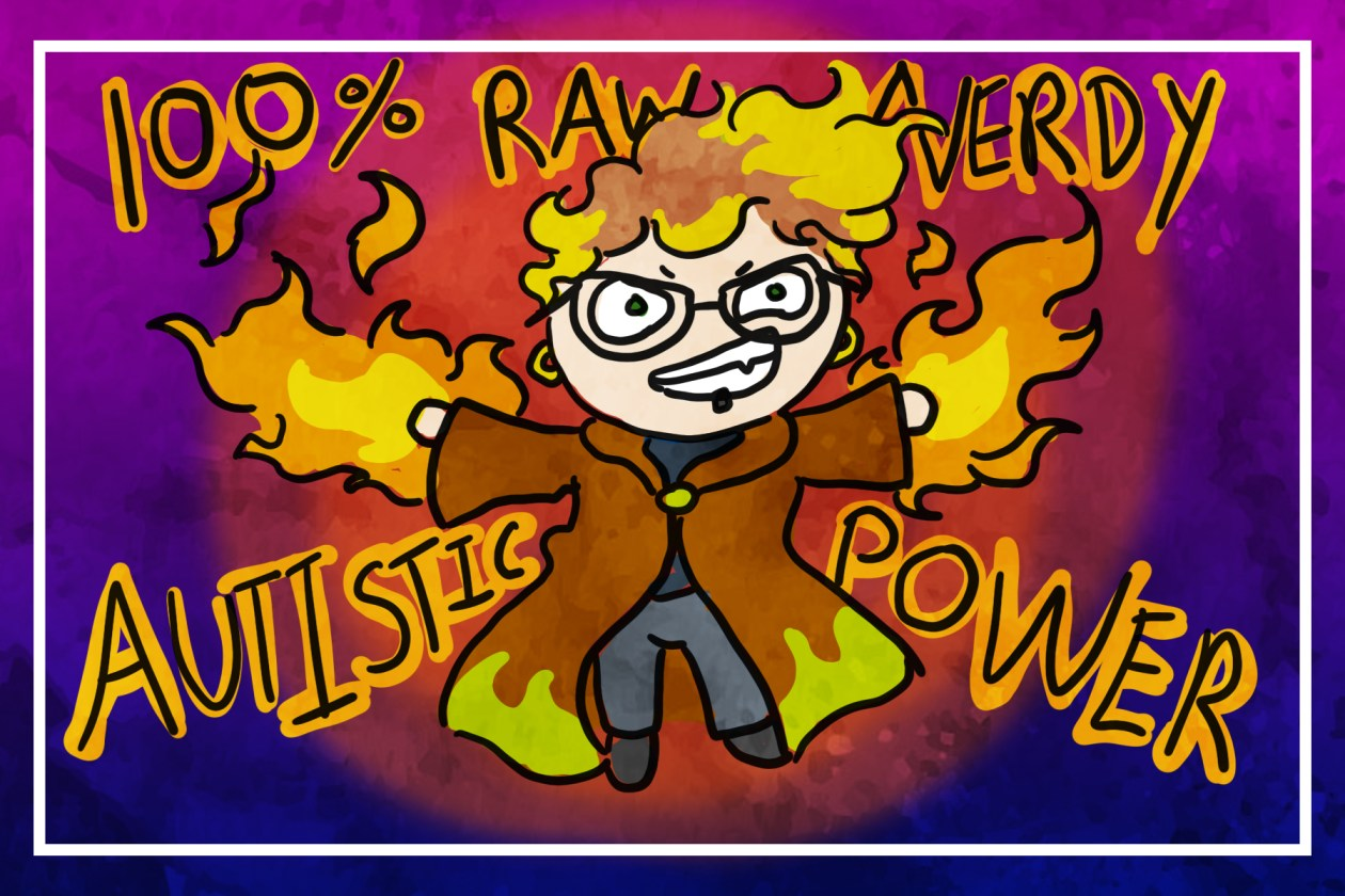 author's DnD character with a sorcerer's robe and fire coming out of their hands, 100% raw nerdy autistic power.