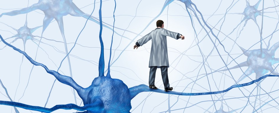 3D Cartoon drawing of a neuron and a miniature doctor walking on the axon like a tightrope.