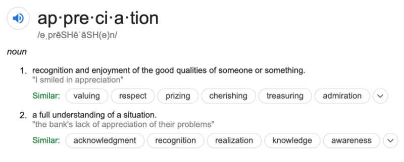 appreciation dictionary entry