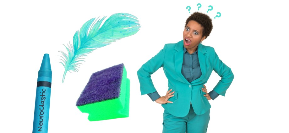 Neuroclastic image demonstrating a nonbinary autistic person with autism on the spectrum having a very bewildered look on their face. There is a feather, a crayon, and a sponge in the image.