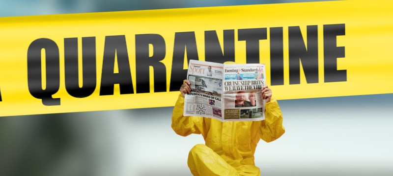 image features yellow police tape which reads quarantine with a person sitting in front of it in what appears to be a yellow hazmat suit reading a newspaper full of covid headlines. Image represents an autistic person on the spectrum with autism looking at a newspaper and feeling anxiety and stress because the language of war is being used and autism is characterized by taking things literally