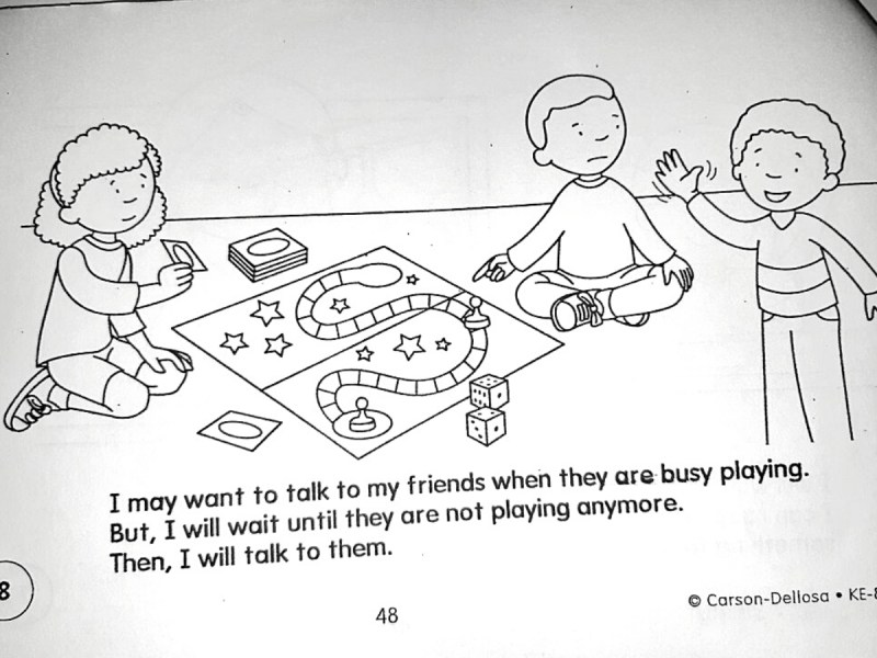 "Image shows two kids playing a board game and looking disappointed. A third kid is waving at the other two and smiling. The text at the bottom reads: ""I may want to talk to my friends when they are busy playing. But, I will wait until they are not playing anymore. Then, I will talk to them."""