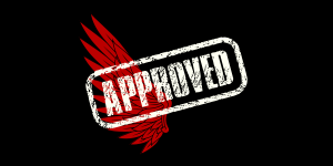 the neuroclastic red wing logo with a white stamp that reads approved to signal that the job board has been approved