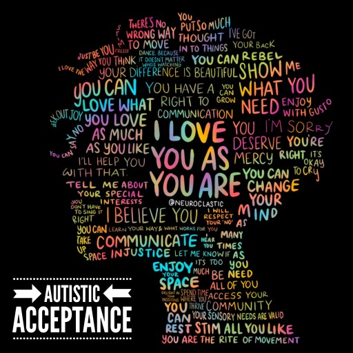 """Image is on a black background and features a silhouette of a nonbinary person with curly hair and is made of rainbow text. The title reads, """"on autistic unmasking."""" the image reads: """"Stim freely."""" """"Just be you."""" """"I love the way you think."""" """"Your difference is beautiful."""" """"You can love what you love as much as you like."""" """"I'll help you with that."""" """"Seek out joy."""" """"You can say no."""" """"Tell me about your special interests."""" """"You don't have to sing it right."""" """"You can take up space."""" """"Communicate injustice."""" """"Enjoy your space."""" """"Delight in your passions."""" """"You can rest."""" """"You are the rite of movement."""" """"Stim all you like."""" """"Your sensory needs are valid."""" """"Spend time where you thrive."""" """"Access your community."""" """"Be all of you."""" """"You can change your mind as many times as you need."""" """"I hear you."""" """"Let me know if it's too much."""" """"Learn your way and what works you."""" """"I will respect your 'no'."""" """"I believe you."""" """"You deserve mercy."""" """"You're right."""" """"It's okay to cry."""" """"Enjoy with gusto."""" """"Show me what you need."""" """"I'm sorry."""" """"You can grow."""" """"You have a right to communication."""" """"You can rebel."""" """"Dance because it doesn't matter who's watching."""" """"There's no wrong way to move."""" """"You put so much thought into things."""" """"I've got your back."""" """"I love you as you are."""""""