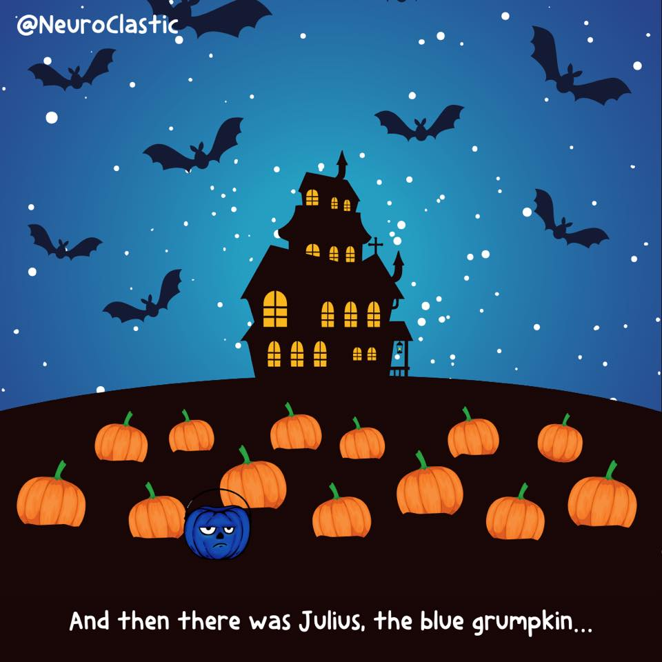 Julius sits in a Halloween scene with a silhouette of a creepy house in the background. He is the one blue pumpkin in a big patch of orange pumpkins. Image reads: And then there was Julius, the blue grumpkin… @NeuroClastic