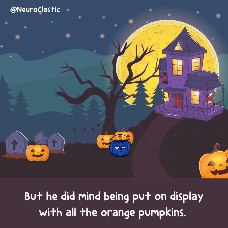 Julius is in a Halloween-decorated yard looking out of place among all the orange. Image reads: But he did mind having his difference put on display with all the orange pumpkins. @NeuroClastic