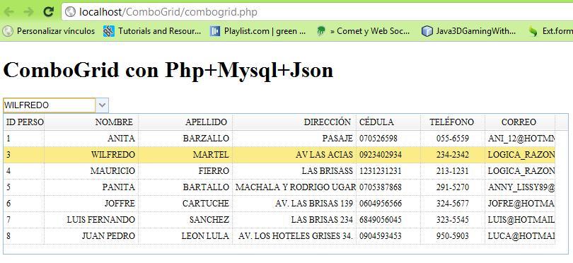 ComboGrid con Jquery+Json+Mysql+jquery easyui (3/5)