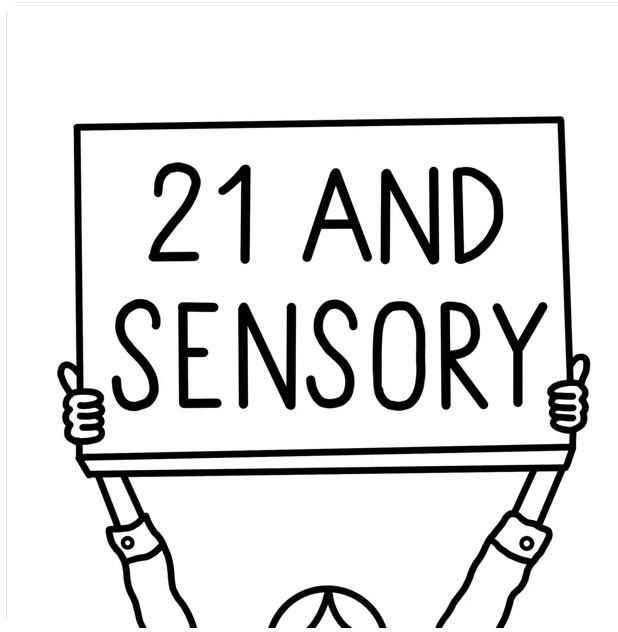 21 & Sensory Logo - hands holding up a sign that says 21 & sensory