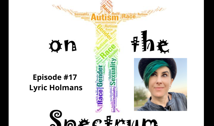 Image description: The Intersections on The Spectrum podcast logo is a rainbow gradient word cloud in the shape of a person with outstretched arms. An image of Lyric looking up and towards the distance. Lyric is a white passing person of mixed heritage with brown eyes and arched eyebrows. They have a tuft of emerald green hair poking out from under a black hat.