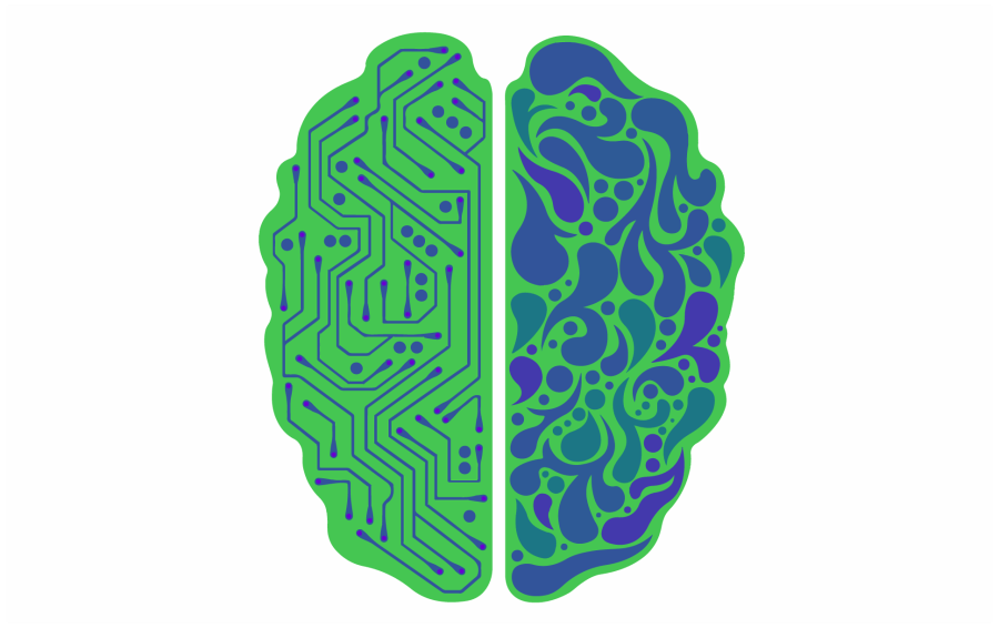 An illustration of a brain in green and purple - one side of the brain is designed like a circuit board, and the other side is swirly pattern. These two sides represent the logic and creativity abilities of neurodivergent people