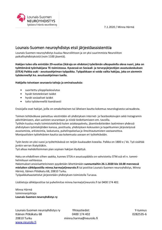 Työpaikkailmoitus järjestöassistentti 2020-page-001