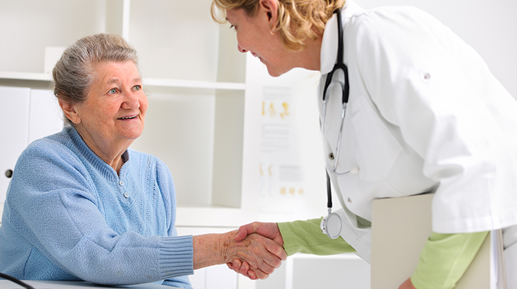 Doctor introducing herself to patient