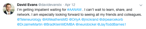 Tweet by David Evans about AANAM