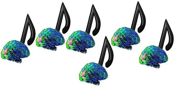 The image shows brains as the feet of musical notes.