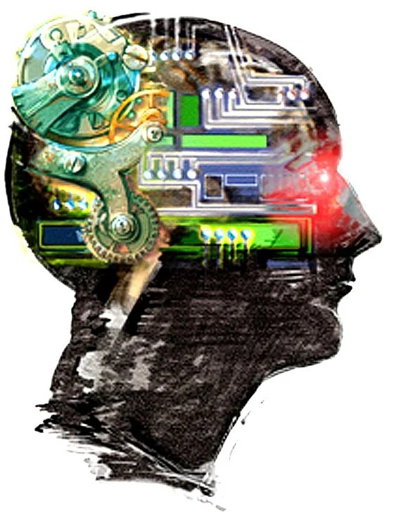 Drawing of a human head with gears and computer parts on it.