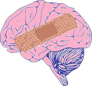 This is an image of a brain with a bandaid on it.