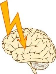 The illustration shows a lightening bolt hitting the brain.
