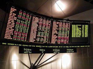 This image shows an electronic stock market ticker.