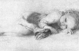 This is a pencil drawing of a sleeping child.