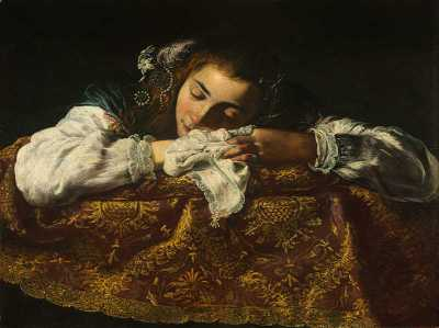 This is a painting of a sleeping girl.