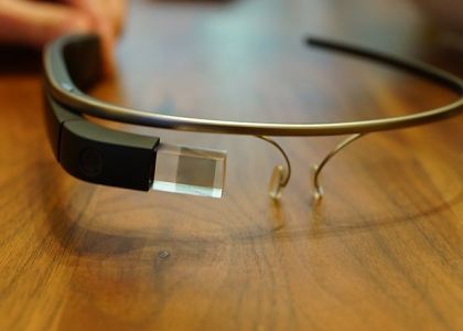 This image shows a Google Glass headset.
