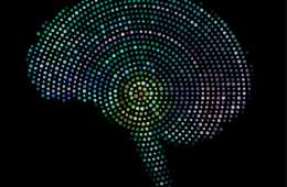 The image shows a brain made up with dots.