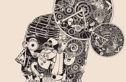 This image shows a drawning of a human head with cog wheel and other clock parts inside of it.
