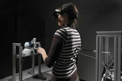 This image shows a person undertaking the experiment.