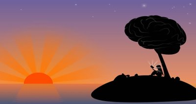The image is a drawing of a sunset and an island. Sitting on the island is a girl under a tree. The top of the tree is a brain.
