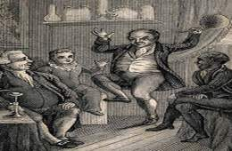 The image is an old illustration showing a man danging after inhailing 'laughing gas'.