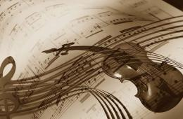The image shows a violin against sheet music.