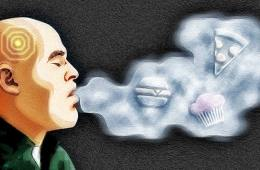 The illustration shows a man exhaling smoke. Inside the smoke are images of food.