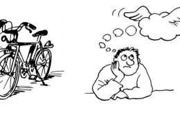 This image is a cartoon of a bicycle and a person with a thought bubble over his head.