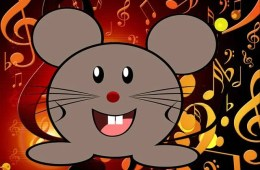 This shows a cartoon mouse set against a background of musical notes.