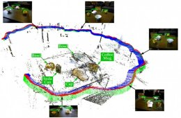 This image shows how the robot maps the environmant. Different objects, such as a bowl and a cap are labelled.