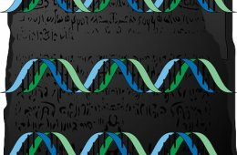 This image is a drawing of the Rosetta Stone with DNA double helix strands.