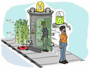 This cartoon shows people going into a machine to and converting cancer cells into normal cells.