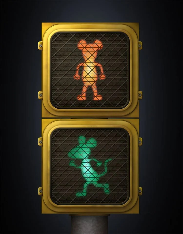 This shows traffic walk lights with mice shown walking across the street.