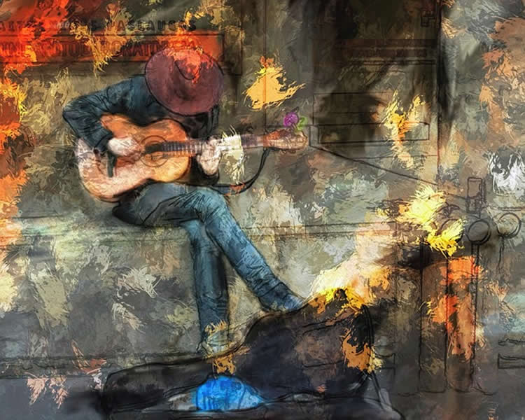 Colorful painting of a man playing a guitar.