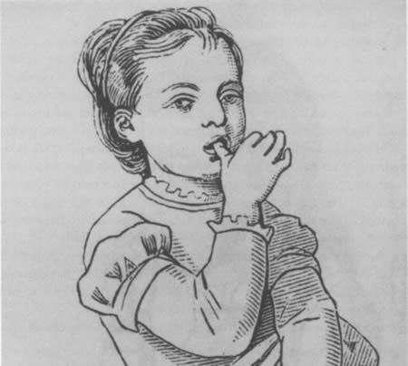 Drawing of a small child sucking her thumb.