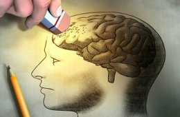 Drawing of a head with the brain exposed. A person is erasing the area of the frontal cortex.