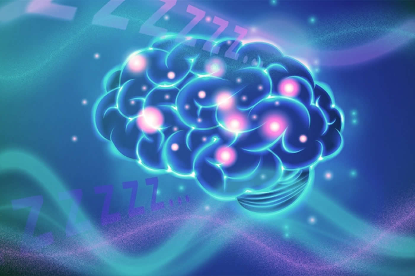 Illustration of a brain with balls inside all networked together.