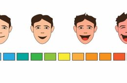 Illustration of faces ranging from lauging to stoic and a rating scale.