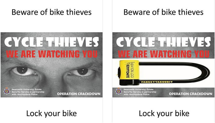 Two posters preventing against cycle theft. One shows a pair of eyes, the other shows a bike lock.