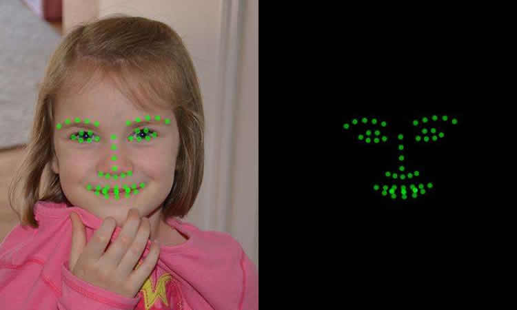 Photo of a child's face and the app output.
