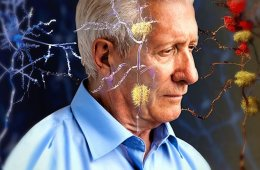 Photo of an older man and neurons.
